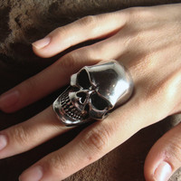 Skull Ring 316L STAINLESS STEEL Mens ring oversized skull Ring Women Skull Ring Unisex Oversized Skull Oversize Biker Ring Goth Punk Jewelry