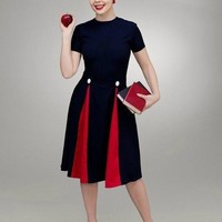 Heather Contrast Pleat Swing Dress - Custom Made