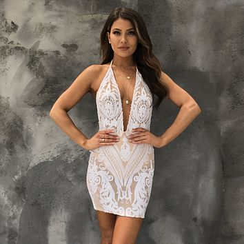 Alone With You Sequin Bodycon Dress in White