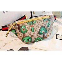 GUCCI trend fashion personality casual graffiti print pocket chest bag
