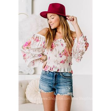 Light Up The Room Floral Smocked Waist Top