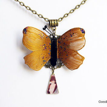 Butterfly necklace , golden long necklace , butterfly charm necklace , insect jewelry , spring animal pendant necklace