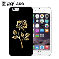 Golden Rose beauty beast Back Cover For iPhone 5 5s SE 6 6s 7 8 Plus X Soft Silica Gel Case for iphone 6 Coque For iPhone 7 case