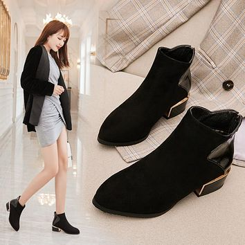 Women's Pointed Toe Chunky Heeled Ankle Boots