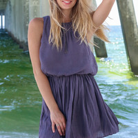 Windsor Bay Slate Pleated Dress