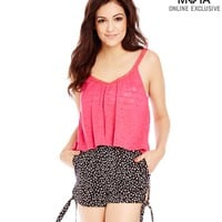 Aeropostale  Womens Calico High-Waisted Side-Tie Slim Fit Shorts