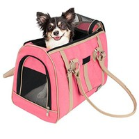 Frontpet Soft Sided Pink Pet Carrier for Small Dogs and Cats Luxry Handbag Dog Purse
