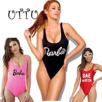 UTTU Sexy Thong One Piece Swimsuit Women High Cut Monokini Print Letter Swimwear Beach Bathing Suit Barbie Backless Swim Wear