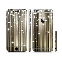 The Gold & White Shimmer Strips Sectioned Skin Series for the Apple iPhone6/6s Plus