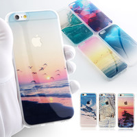City Street Tower Forest Ocean Snow Mountain landscape Scenery phone Case For iphone 5S 5 6 6s 7 6plus Case Soft TPU Transparent