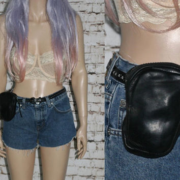 70s Leather Pouch Black Belt Holster Bag Hip Pack Leg Punk Post Apocalyptic Hipster Festival Gear Gypsy Boho Hippie 80s Traveler Gothic Goth