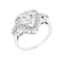 Heart Halo Engagement Ring (size: 09)
