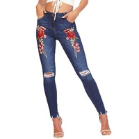 Appliques Rose High Waist Jeans Flower Embroidery Denim Pants Slim Holes Ripped Ripped Jeans For Women Pencil Pants