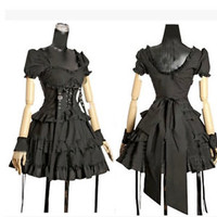 Lolita Gothic Punk Womens Ladies Black Short Sleeve Tiered Layered Cosplay Dress