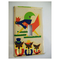 retro rooster switch plate vintage owl 1950's rockabilly kitchen mid century switch cover