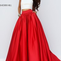 Two Piece Ivory Top Red Ball Gown with Pockets by Sherri Hil