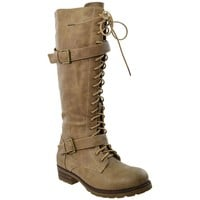 Lace Up Knee High Western Boot