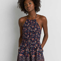 AEO Smocked Tie Neck Romper , Navy