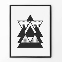 Abstract Geometric Print, Triangle Wall Art, Black and White, Wall Decor, Minimalist Poster, Scandinavian, Nursery Wall Art