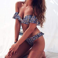 Off Shoulder Ruffled Multicolored Print Bikini