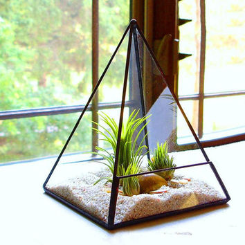 Geometric Pyramid Glass Terrarium Container, Tabletop Dodecahedron Modern Planter Indoor Fairy Garden, Candle Holder Box Home Decor Design