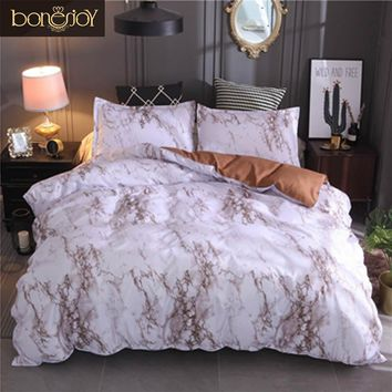 Bonenjoy Queen Size Bed Set Brown Marble Printed Luxury Bedding Set King Size Bed Linen Single Duvet Cover Sets with Pillowcase