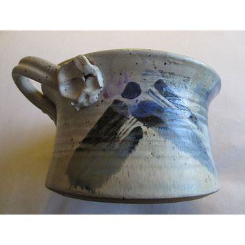 Stoneware Abstract Signed Chamber Pot Bold Flowers
