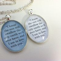I am in love with you The Fault in Our Stars Book Quote Charm Pendant Necklace John Green