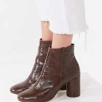 Sabrina Faux Brown Snakeskin Ankle Boot | Urban Outfitters