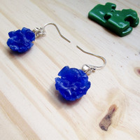 Round Blue Earring, small round upcycled glass earrings, bright blue, Women's Earrings, Girls jewelry, Glass Jewelry, Recycled Jewelry