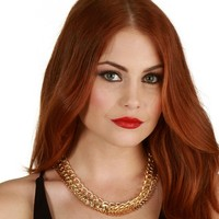 Gold Triple Chain Gang Necklace