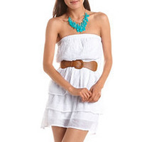 Belted Tiered Tube Dress: Charlotte Russe