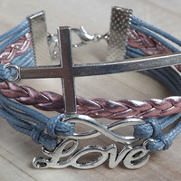 The infinite love of ancient silver, the anchor bracelet silver wax line and imitation leather bracelet - style