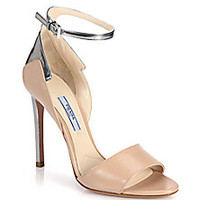 Prada - Metallic-Trimmed Leather Sandals - Saks Fifth Avenue Mobile