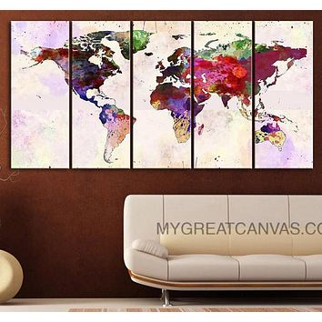 Large Wall Art Canvas Print Colorful Watercolor World Map Paint Splash World Map Framed Giclee