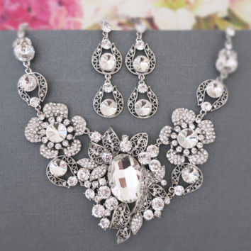 Rhinestone Costume Jewelry, Necklace and Earrings Crystal