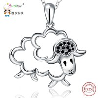 StrollGirl 925 Sterling Silver Chain Pendant Necklace Fashion Jewelry Hollow Lovely Sheep Necklaces & Pendants For Women 2018