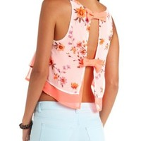 Neon-Lined Floral Print Swing Crop Top - Ivory Combo