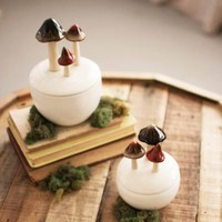 Ceramic Mushroom Jars ~ (Set of 2)