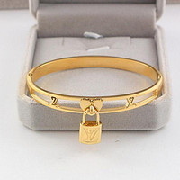 Louis Vuitton Trending Women Men Stylish Lock Hollow Stainless Steel Bracelet Jewelry