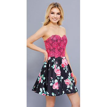 Appliqued Bodice Strapless Homecoming Short Dress Floral Print Skirt