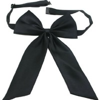 Chuzhao Wu Polyester Black Wedding Bridal Or Business Meeting Dress Adjustable Bow Tie Long Neck Tie Bowtie For Women Or Girl(Pack Of 2):Amazon:Health & Personal Care