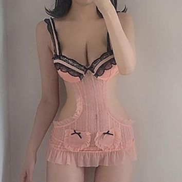 sexy sweet lace temptation hollow-out flounced perspective low-cut home mesh mini Rompers Bodysuits