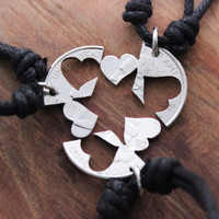 3 Hearts Necklaces for Family and Friends Interlocking Quarter Set, Cut Coin