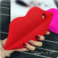 Big Red Mouth Phone Case Cover in Sillicon for iPhone 6S & iPhone 6S Plus