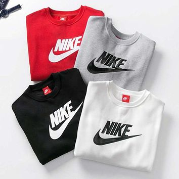 NIKE Tide brand classic big print men and women long sleeve round neck pullover sweater