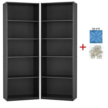 Mainstay Pack of 2 5-Shelf Bookcase in True Black Oak Finish 5-Shelf (Set of 2)