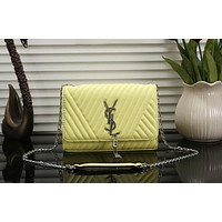 YSL Fashion Tassel Women Shopping Bag Leather Handbag Tote Satchel Buckle Shoulder Bag Yellow I-OM-NBPF