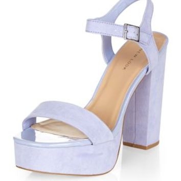 Lilac Chunky Ankle Strap Heels
