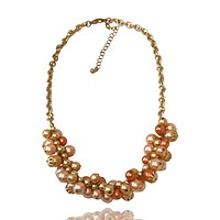 Faux Pearl Cluster Chain Necklace